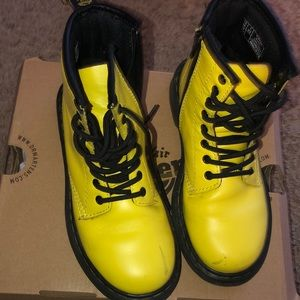 Yellow Dr Marten boots in Kids' size 1